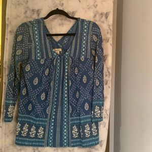 Lucky Brand • Blue blouse with white details • XS